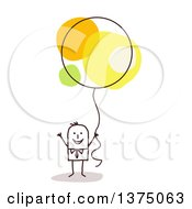 Clipart Of A Stick Business Man Holding A Balloon Royalty Free Vector Illustration
