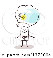 Clipart Of A Stick Business Man With Positive Optimistic Thoughts Royalty Free Vector Illustration