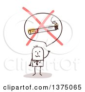 Clipart Of A Stick Business Man Trying To Quit Smoking Royalty Free Vector Illustration