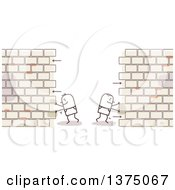 Clipart Of Stick Men Pushing Sides Of A Brick Wall Apart Royalty Free Vector Illustration