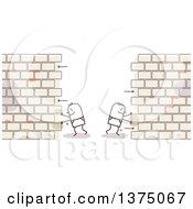 Stick Men Pushing Sides Of A Brick Wall Apart