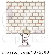 Stick Businessman Struggling Under A Brick Wall