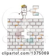 Clipart Of A Stick Contractor Man Holding Bricks Misplaced From A Wall Royalty Free Vector Illustration