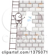 Clipart Of A Stick Business Man Climbing A Ladder And Looking Through An Opening In A Brick Wall Royalty Free Vector Illustration