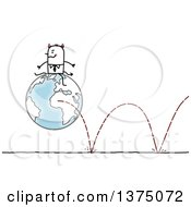 Clipart Of A Devil Stick Business Man Sitting On A Bouncing Globe Royalty Free Vector Illustration