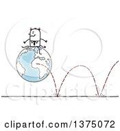 Devil Stick Business Man Sitting On A Bouncing Globe