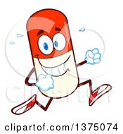 Clipart Of A Happy Pill Mascot Running Royalty Free Vector Illustration