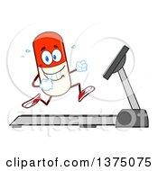 Clipart Of A Happy Pill Mascot Running On A Treadmill Royalty Free Vector Illustration