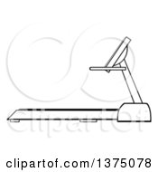 Clipart Of A Black And White Treadmill Royalty Free Vector Illustration