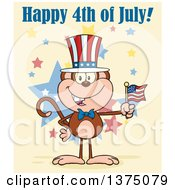 Clipart Of A Happy Patriotic Monkey Wearing A Top Hat And Holding An American Flag Under Happy 4th Of July Text On Yellow Royalty Free Vector Illustration by Hit Toon