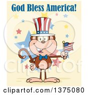 Clipart Of A Happy Patriotic Monkey Wearing A Top Hat And Holding An American Flag Under God Bless America Text On Yellow Royalty Free Vector Illustration
