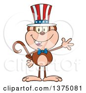 Clipart Of A Happy Patriotic Monkey Wearing An American Top Hat And Waving Royalty Free Vector Illustration