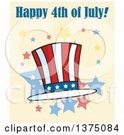 Clipart Of A Patriotic American Top Hat With Happy 4th Of July Text On Yellow Royalty Free Vector Illustration