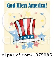 Clipart Of A Patriotic American Top Hat With God Bless America Text On Yellow Royalty Free Vector Illustration