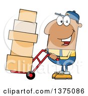 Black Delivery Man Moving Boxes On A Dolly