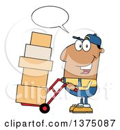 Clipart Of A Black Delivery Man Talking And Moving Boxes On A Dolly Royalty Free Vector Illustration