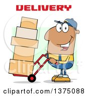 Clipart Of A Black Delivery Man Moving Boxes On A Dolly Under Text Royalty Free Vector Illustration