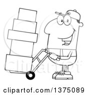 Clipart Of A Black And White Delivery Man Moving Boxes On A Dolly Royalty Free Vector Illustration