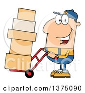 Caucasian Delivery Man Moving Boxes On A Dolly