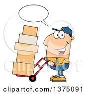 Clipart Of A Caucasian Delivery Man Talking And Moving Boxes On A Dolly Royalty Free Vector Illustration