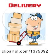 Clipart Of A Caucasian Delivery Man Moving Boxes On A Dolly Under Text Royalty Free Vector Illustration by Hit Toon