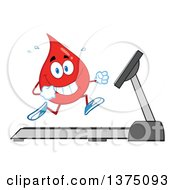 Clipart Of A Happy Blood Or Hot Water Drop Running On A Treadmill Royalty Free Vector Illustration