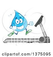 Clipart Of A Happy Blue Water Drop Character Running On A Treadmill Royalty Free Vector Illustration