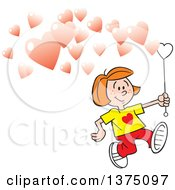 Cartoon Clipart Of A Red Haired Caucasian Girl Running And Making Valentine Heart Bubbles Royalty Free Vector Illustration by Johnny Sajem