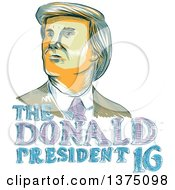 Clipart Of A Sketched Portrait Of Republican Presidential Nominee Donald Trump Over Text Royalty Free Vector Illustration by patrimonio