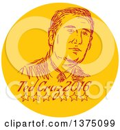 Clipart Of A Retro Sketched Portrait Of Ted Cruz Republican Residential Candidate In A Circle Over Text Royalty Free Vector Illustration
