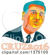 Clipart Of A Retro Wpa Styled Portrait Of Ted Cruz Replubican Presidential Candidate Over Text Royalty Free Vector Illustration