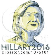 Clipart Of A Retro Sketched Portrait Of Hillary Clinton Over Text Royalty Free Vector Illustration