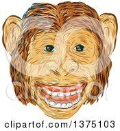 Clipart Of A Sketched Happy Chimpanzee Face Royalty Free Vector Illustration by patrimonio