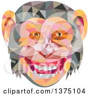 Clipart Of A Retro Geometric Low Polygon Styled Chimpanzee Face Royalty Free Vector Illustration by patrimonio