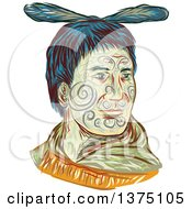Clipart Of A Sketched Portrait Of A Maori Chief Warrior Chieftain Head With Tattoos On His Face Royalty Free Vector Illustration