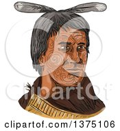 Clipart Of A Watercolor Portrait Of A Maori Chief With Tribal Tattoos On His Face Royalty Free Vector Illustration