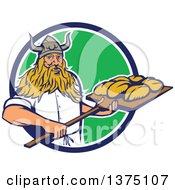 Clipart Of A Retro Male Viking Warrior Baker Holding A Peel With Bread Dough Emerging From A Blue White And Gree Circle Royalty Free Vector Illustration
