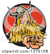 Clipart Of A Retro Viking Warrior Holding Out Hazelnuts And Emerging From A Black And Red Circle Royalty Free Vector Illustration by patrimonio
