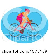Clipart Of A Sketched Caucasian Female Cyclist In A Blue Oval Royalty Free Vector Illustration by patrimonio