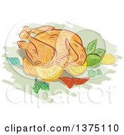 Clipart Of A Sketched Roasted Chicken With Lemon Lime Mint Onion Royalty Free Vector Illustration by patrimonio