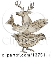 Clipart Of A Retro Sketch Of A Deer Buck Trout Fish And Quail Royalty Free Vector Illustration