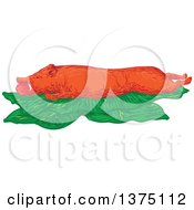Clipart Of A Sketched Lechon Roasted Pig On Banana Leaves Royalty Free Vector Illustration