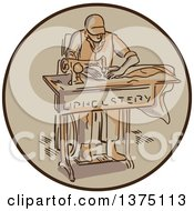 Clipart Of A Sketched Tailor Machinist Upholsterer Using A Sewing Machine Inside A Circle Royalty Free Vector Illustration