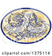 Clipart Of A Sketched Scene Of St George Fighting A Dragon In An Oval Royalty Free Vector Illustration by patrimonio