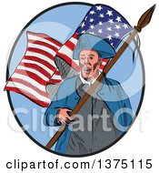 Clipart Of A Sketched American Patriot Carrying A Flag Inside An Oval Royalty Free Vector Illustration by patrimonio