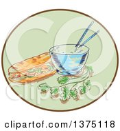 Clipart Of A Sketch Of A Bahn Mi Vietnamese Sandwich With Meat And Bowl Of Rice And Chopsticks And Coriander Inside A Green And Brown Oval Royalty Free Vector Illustration