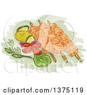 Clipart Of A Sketch Of Chicken Kebabs With Vegetables On Green Royalty Free Vector Illustration by patrimonio