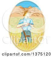 Sketched White Male Wheat Farmer Leaning On A Scythe In A Field Within An Oval