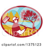 Clipart Of A Retro Male Cleaner Holding A Broom Over His Shoulder Inside An Oval With A Pandanus Tree And Coast Royalty Free Vector Illustration