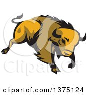 Clipart Of A Retro Charging American Bison Buffalo Royalty Free Vector Illustration